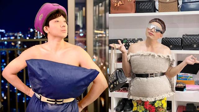 """Loạt nam sao Việt đu theo trend """"lấy gối làm váy"""", Trấn Thành ham tạo dáng đến tụt cả ngực"""